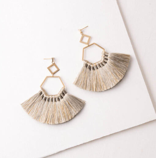 Light Grey Tassel Earrings, Give freedom to exploited girls & women! - Give Back Goods