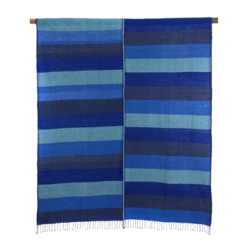 Ethiopian Blue, Grey & Black Cotton Throw, Wrap or Tablecloth, Fair Trade, Employs Artisans, Eco-Friendly - Give Back Goods