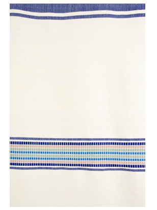 Ethiopian Blue & Cream Cotton Blanket or Tablecloth, Fair Trade, Employs Artisans, Eco-Friendly - Give Back Goods