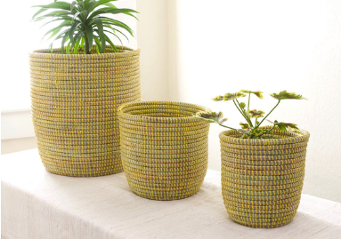 Set of 3 Handwoven Yellow Planter Baskets, Fair Trade, Eco-Friendly - Give Back Goods