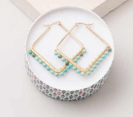 Turquoise Howlite Triangle Hoop Earrings, Give freedom to exploited girls & women! - Give Back Goods