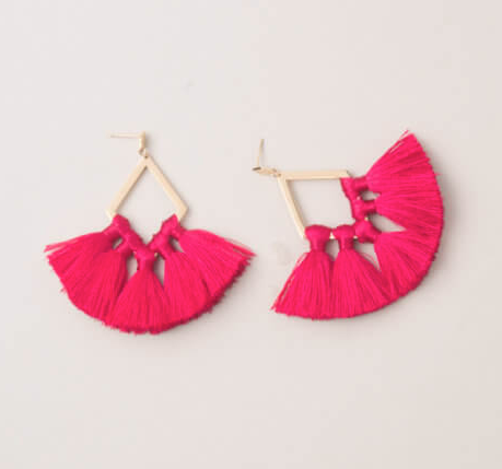 Bright Pink Fuchsia Tassel Earrings, Give freedom to exploited girls & women! - Give Back Goods