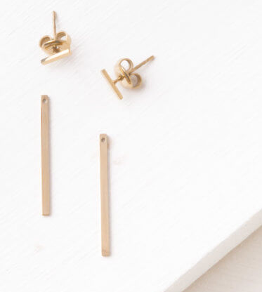 Gold Bar Dangle Stud Earrings, Give freedom to exploited girls & women! - Give Back Goods