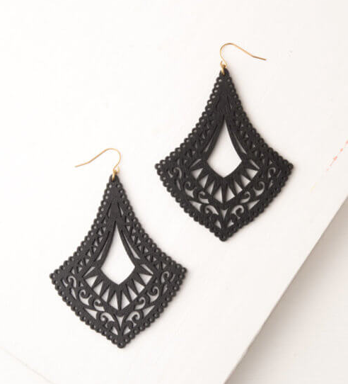 Black Recycled Wood Pendant Earrings, Give freedom to exploited girls & women! - Give Back Goods