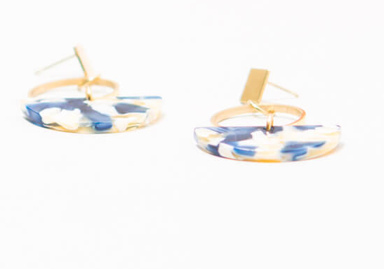 Resin Blue & Gold Dangle Earrings, Give freedom to exploited girls & women! - Give Back Goods