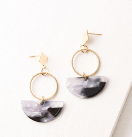Grey, White & Black Resin Dangle Earrings, Give freedom to exploited girls & women! - Give Back Goods