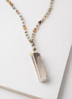 Amazonite & White Crystal Pendant Necklace, Give freedom & create careers for exploited girls & women! - Give Back Goods