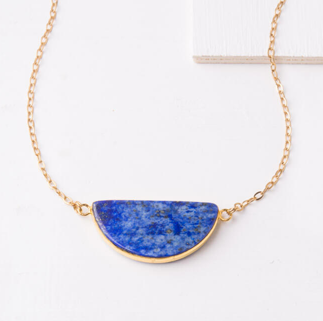 Blue Lapiz Lazuli Pendant Necklace, Give freedom & careers to exploited women! - Give Back Goods