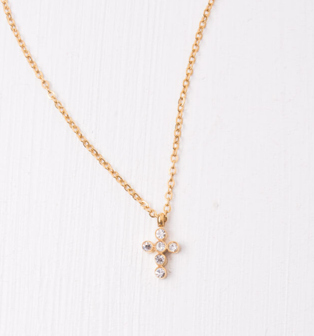 Gold Cross Pendant Necklace, Give freedom & careers to exploited women! - Give Back Goods