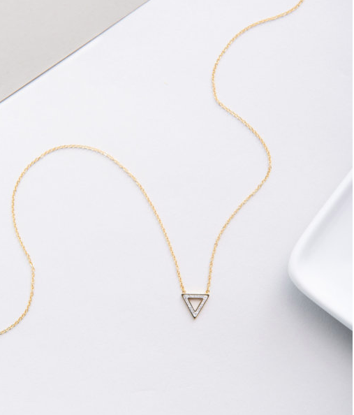 Gold Triangle Pendant Necklace, Give freedom & create careers for exploited women! - Give Back Goods
