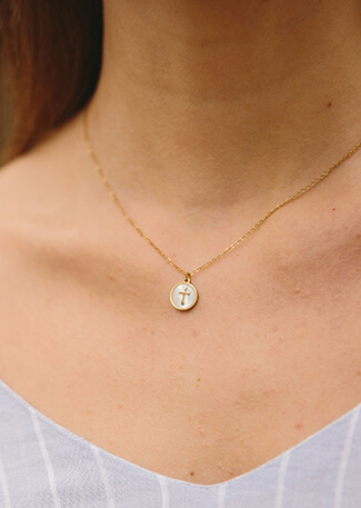 Gold & Mother-of-Pearl Cross Necklace, Give freedom to girls & women!