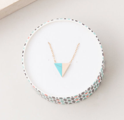 Gold & Turquoise Triangle Pendant Necklace, Give freedom to exploited girls & women!