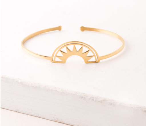 Gold Rising Sun Bracelet, Give freedom to exploited girls & women!