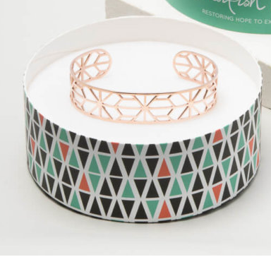 Rose Gold Geometric Cuff Bracelet, Give freedom to exploited girls & women!
