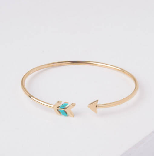 Gold and Turquoise Arrow Cuff Bracelet, Give freedom to exploited girls & women!