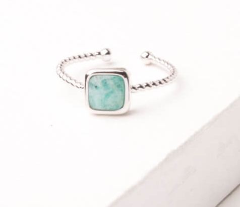 Silver & Amazonite Square Ring, Give freedom to exploited girls & women!