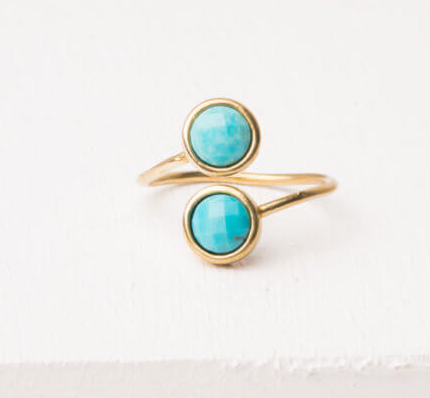 Gold & Turquoise Adjustable Ring, Give freedom to exploited girls & women!