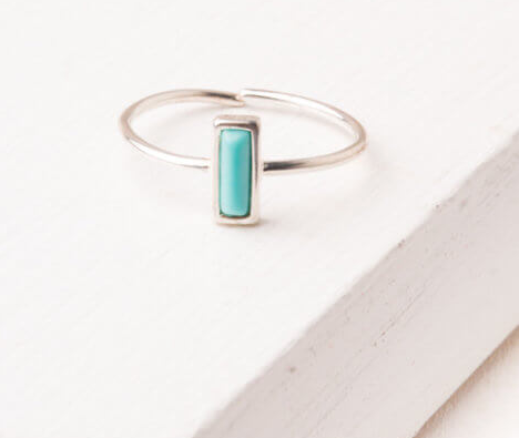 Silver & turquoise adjustable rectangle ring, Give freedom to exploited girls & women!