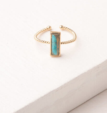 Gold and turquoise adjustable rectangle ring, Give freedom to exploited girls & women!