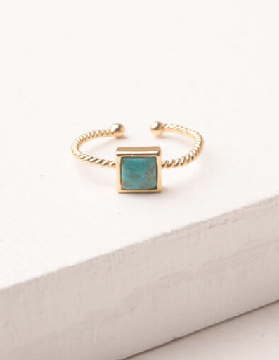 Gold and turquoise adjustable square ring, Give freedom to exploited girls & women!