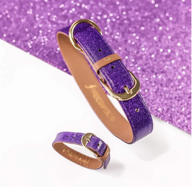 Purple Sparkle Vegan Dog Collar & Bracelet 4 You!   Feeds 4 shelter pups!