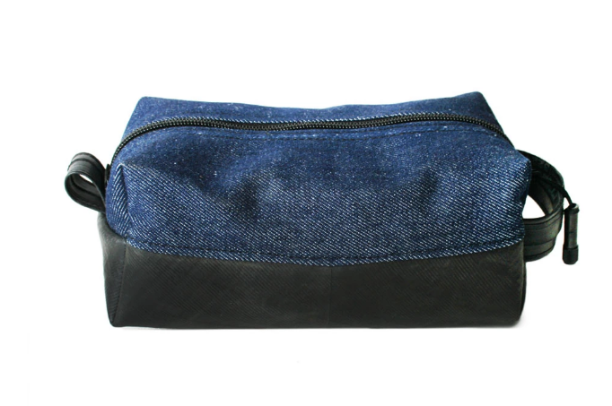 Upcycled Blue Denim Dopp Kit- Saves Landfill Space