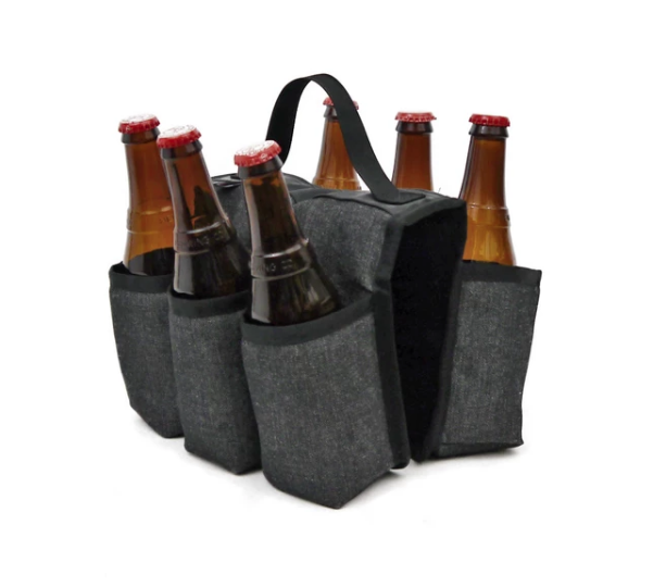 Upcycled  Can or Bottle Holder, 6 pack- insulated -Made in the USA- Saves Landfill Space!
