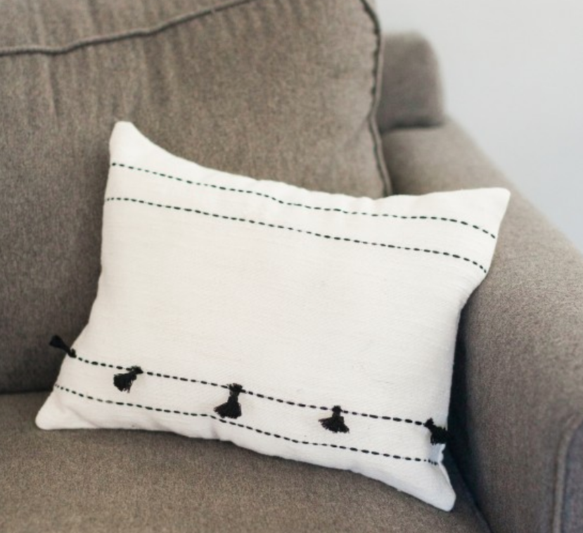 "16"" Tasseled Tunisian Pillow, Hand Woven & Embroidered Cotton, Eco-Friendly, Fair Trade"