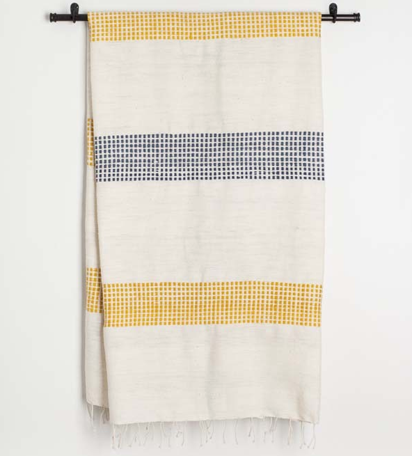 Ethiopian Navy & Gold Dotted Cotton Bath Towels, Hand Woven, Fair Trade (pick your colors) Eco-Friendly