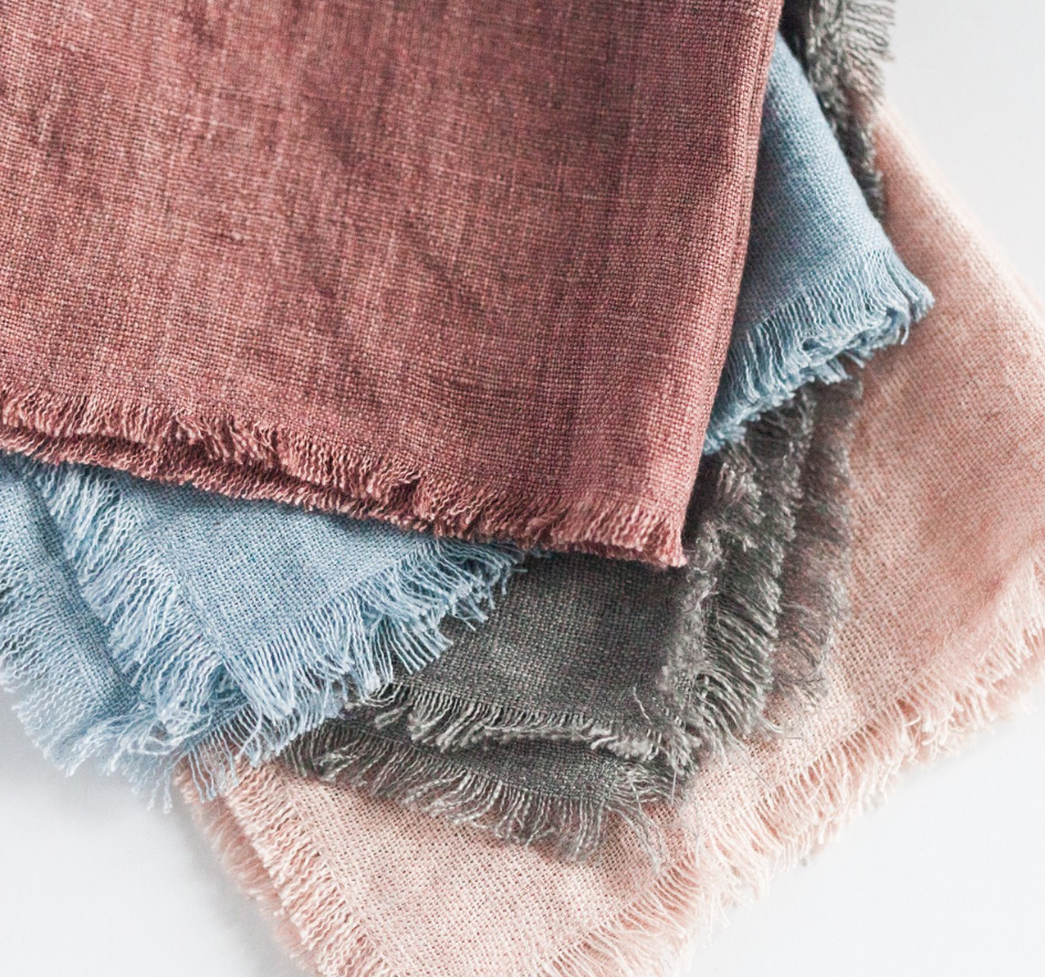 Set of 4 Hand Woven Stone Washed Linen Cocktail Napkins- Eco-Friendly, Fair Trade