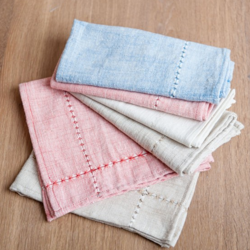 Set of 4 Hand Woven Pulled Dinner Napkins (lots of colors) Eco-Friendly, Fair Trade