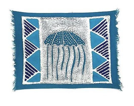 Set of 4 Hand-painted Jelly Fish Batik Placemats, Fair Trade
