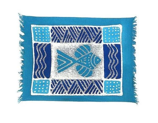 Set of 4 Hand-painted Blue Fish Batik Placemats, Fair Trade