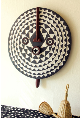 Hand Carved Wooden Sun Mask from Ghana, Fair Trade