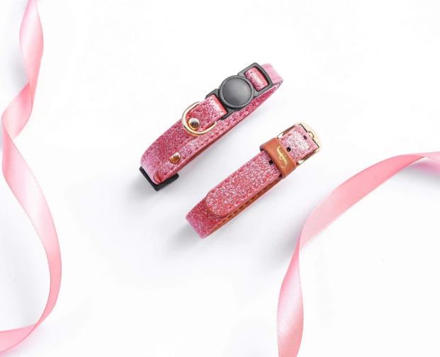 Pink Glittery Vegan Cat Collar and Matching Bracelet, Feeds 3 Shelter Animals & 10% goes back to breast cancer awareness!!