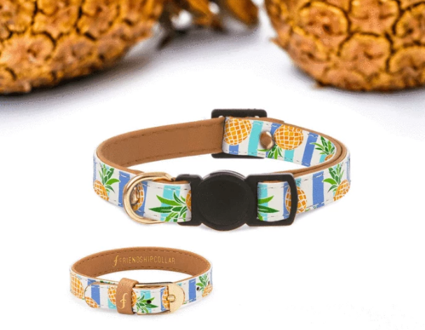 "Pineapple Design Vegan ""leather"" Cat Collar & Matching Bracelet- Feeds 3 Shelter Animals!"