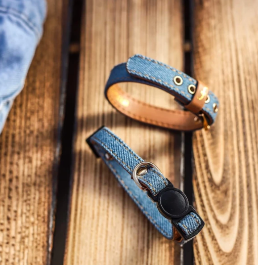 "Light Blue Denim Vegan ""leather"" Cat Collar & Matching Bracelet, Feeds 3 Shelter Animals!"