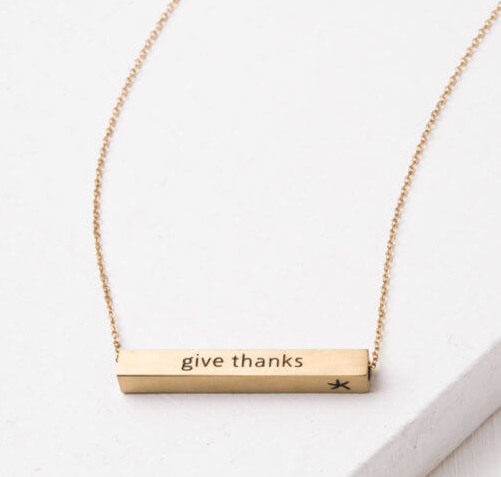 Rejoice, Pray, Give Thanks Bar Necklace (Silver or Gold), Create careers for exploited girls & women!