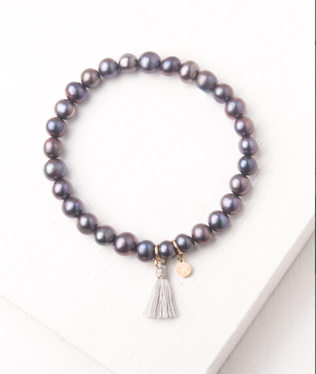 Iridescent Purple Bead & Tassel Bracelet, Give freedom to exploited girls & women!