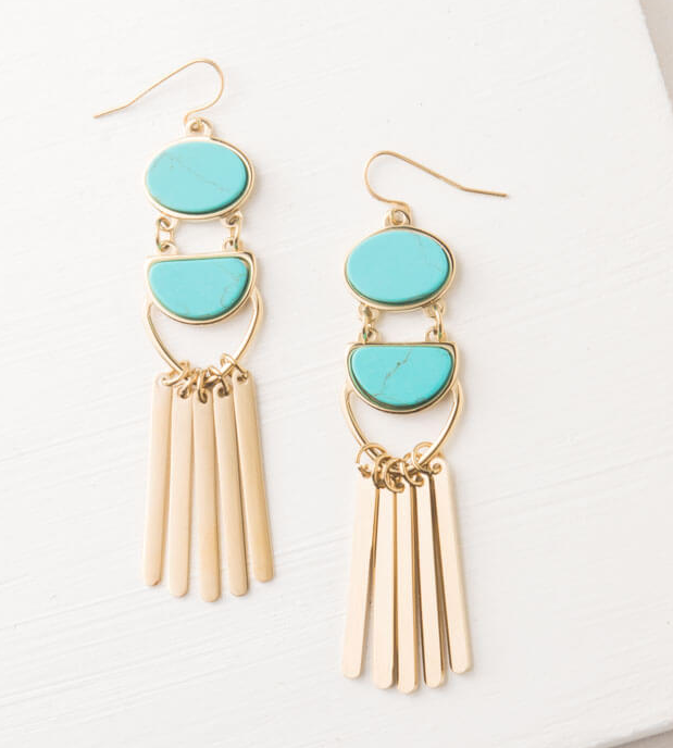Gold & Turquoise Dangle Earrings, Give freedom & create careers for exploited girls & women!