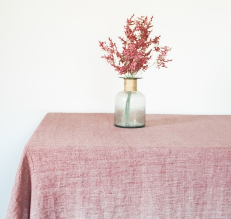 Stone Washed Linen Tablecloth 84 x 60 (Rose, Light Blue, Grey, Blush, Navy, Oyster)  Eco-Friendly, Fair Trade