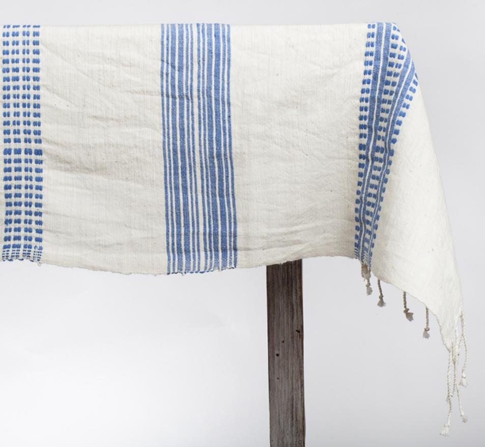 Hand woven Striped Ethiopian Cotton Tablecloth (Blue or Grey) - Eco-Friendly, Fair Trade