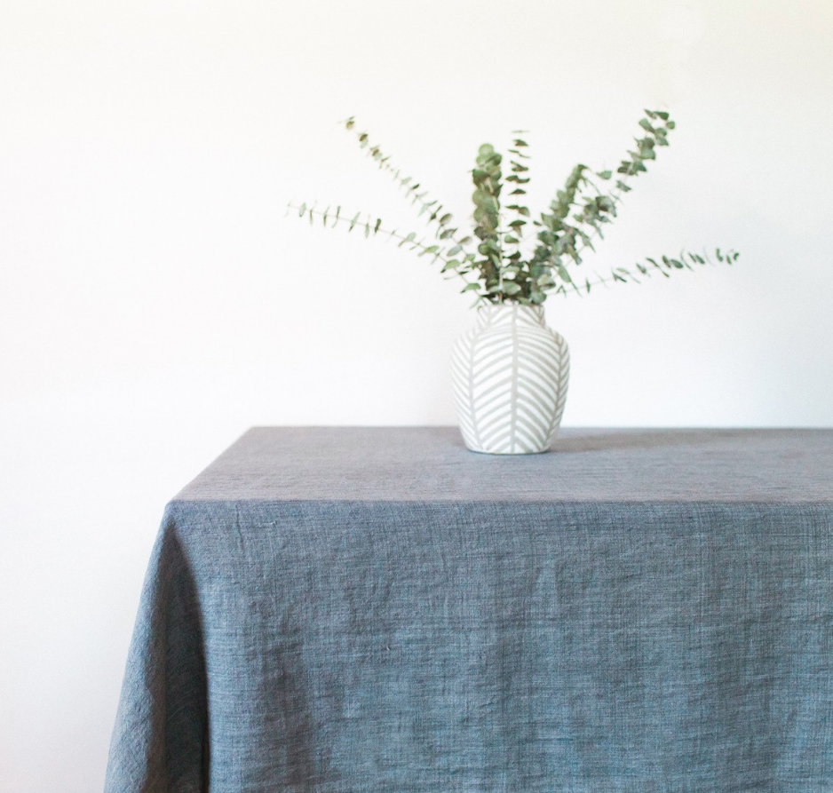 Stone Washed Linen Tablecloth (Rose, Light Blue, Grey, Blush, Navy, Oyster) - Eco-Friendly, Fair Trade