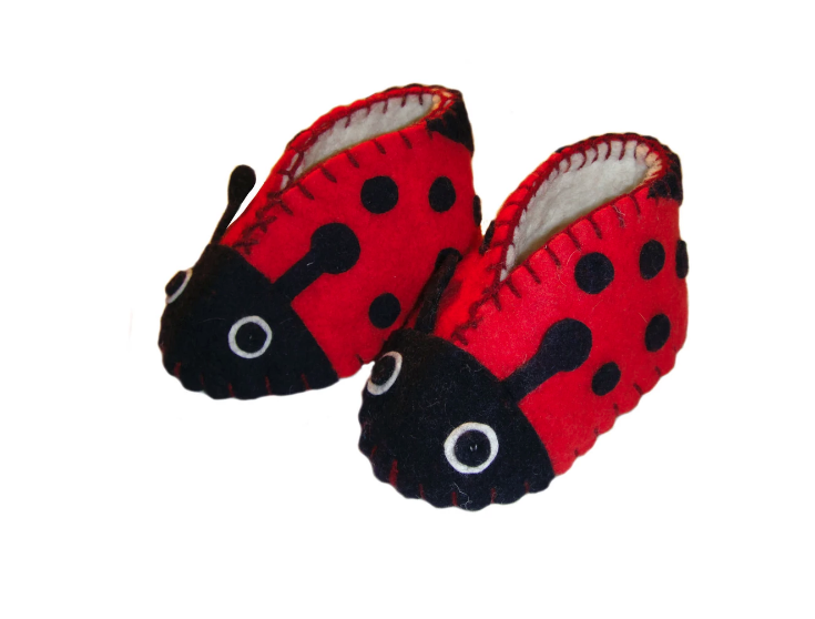 Handcrafted Wool Lady Bug Booties- Made in Kyrgyzstan- Fair trade