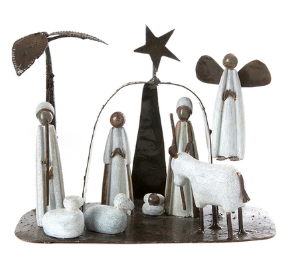 Handcrafted Stone and Recycled Metal Nativity Scene, Fair Trade from Zimbabwe