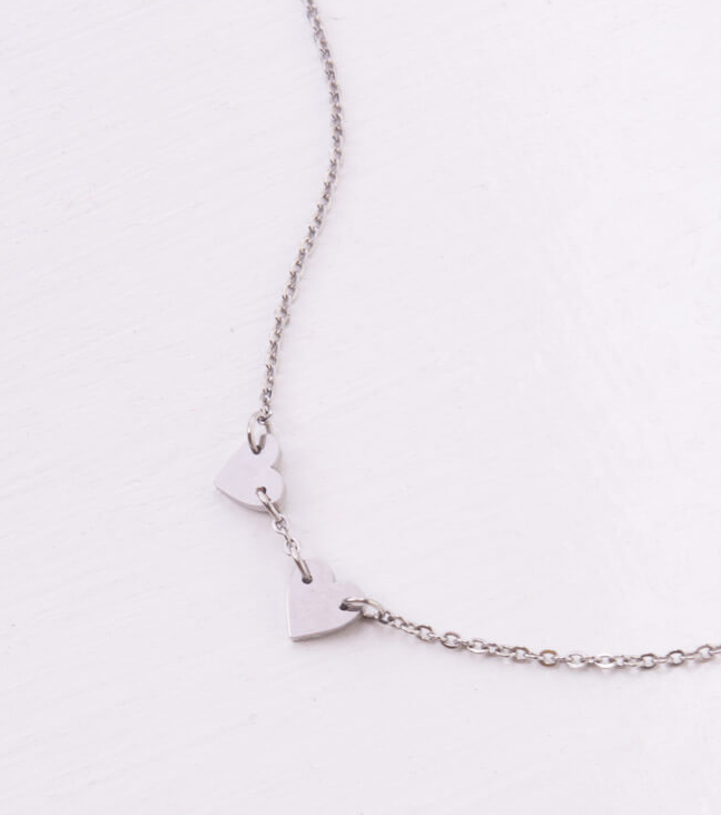 Double Heart Necklace in Silver or Gold, Give freedom & create careers for exploited women!