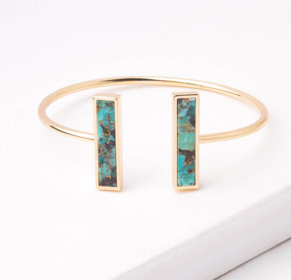 Turquoise Stone Gold Cuff Bracelet, Give freedom to exploited girls & women!