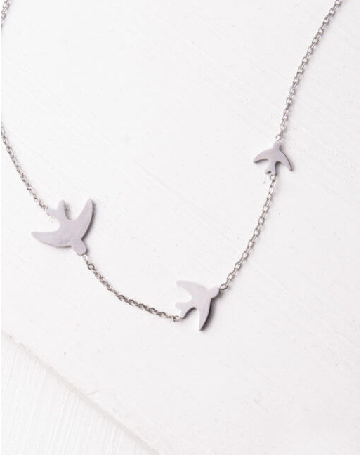 Silver Sparrow Bird Necklace, Give freedom to exploited girls & women!