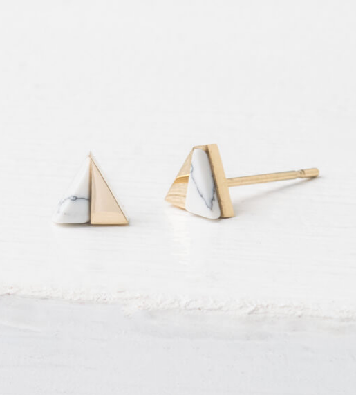 Gold & White Triangle Stud Earrings