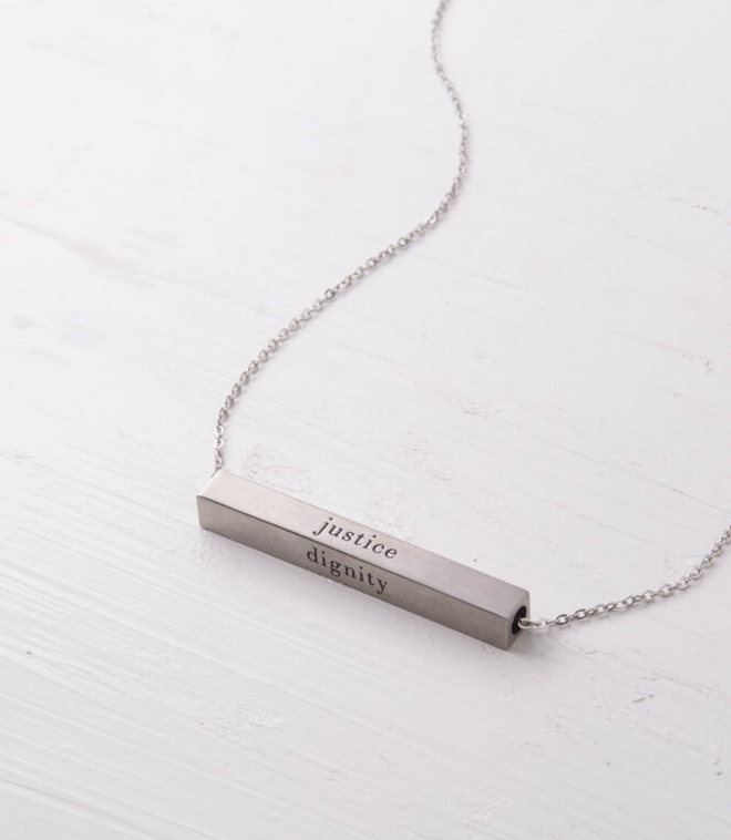 Silver Dignity Freedom Bar Necklace, Create careers for exploited girls & women!